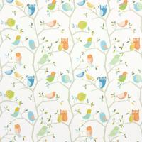 What a Hoot Fabric - Aqua/Tangerine/Apple/Natural