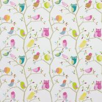 What a Hoot Fabric - Pink/Aquamarine/Lime/Natural