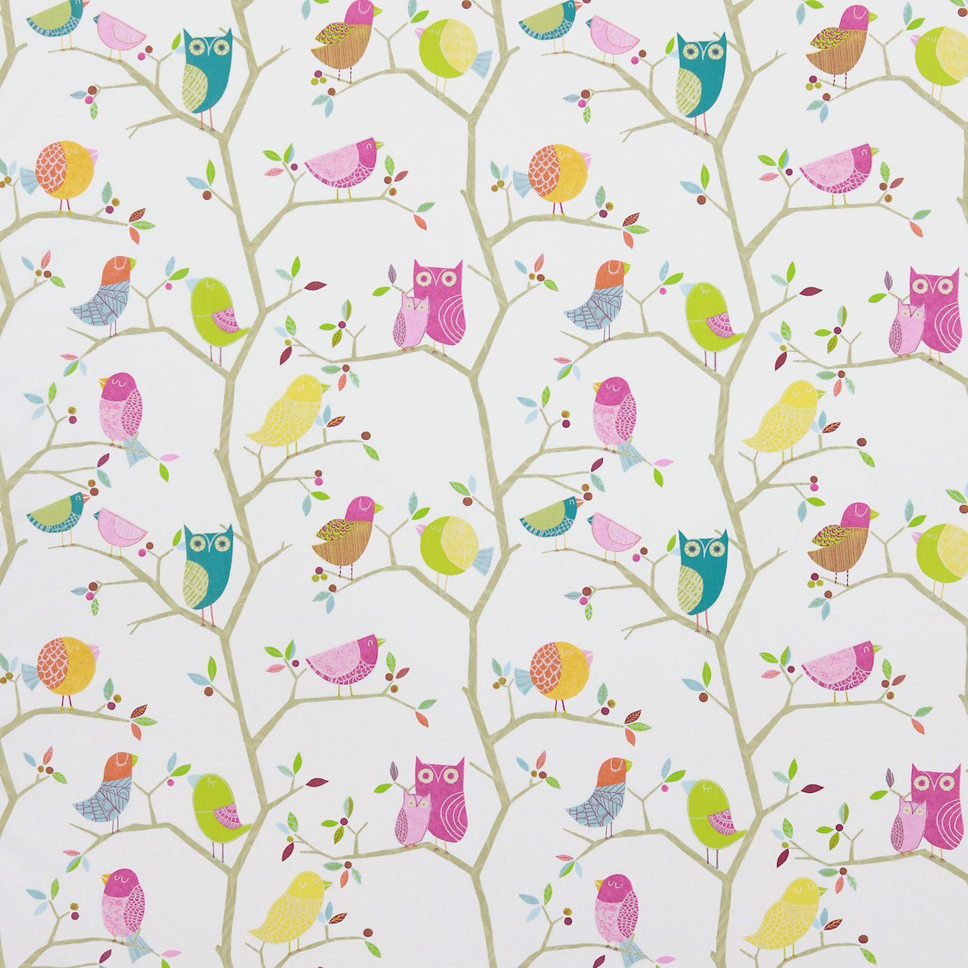 What a hoot fabric pink aquamarine lime natural 3224 for Fabrics for children s rooms