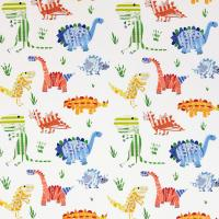 Jolly Jurassic Fabric - Aqua/Tangerine/Apple/Natural