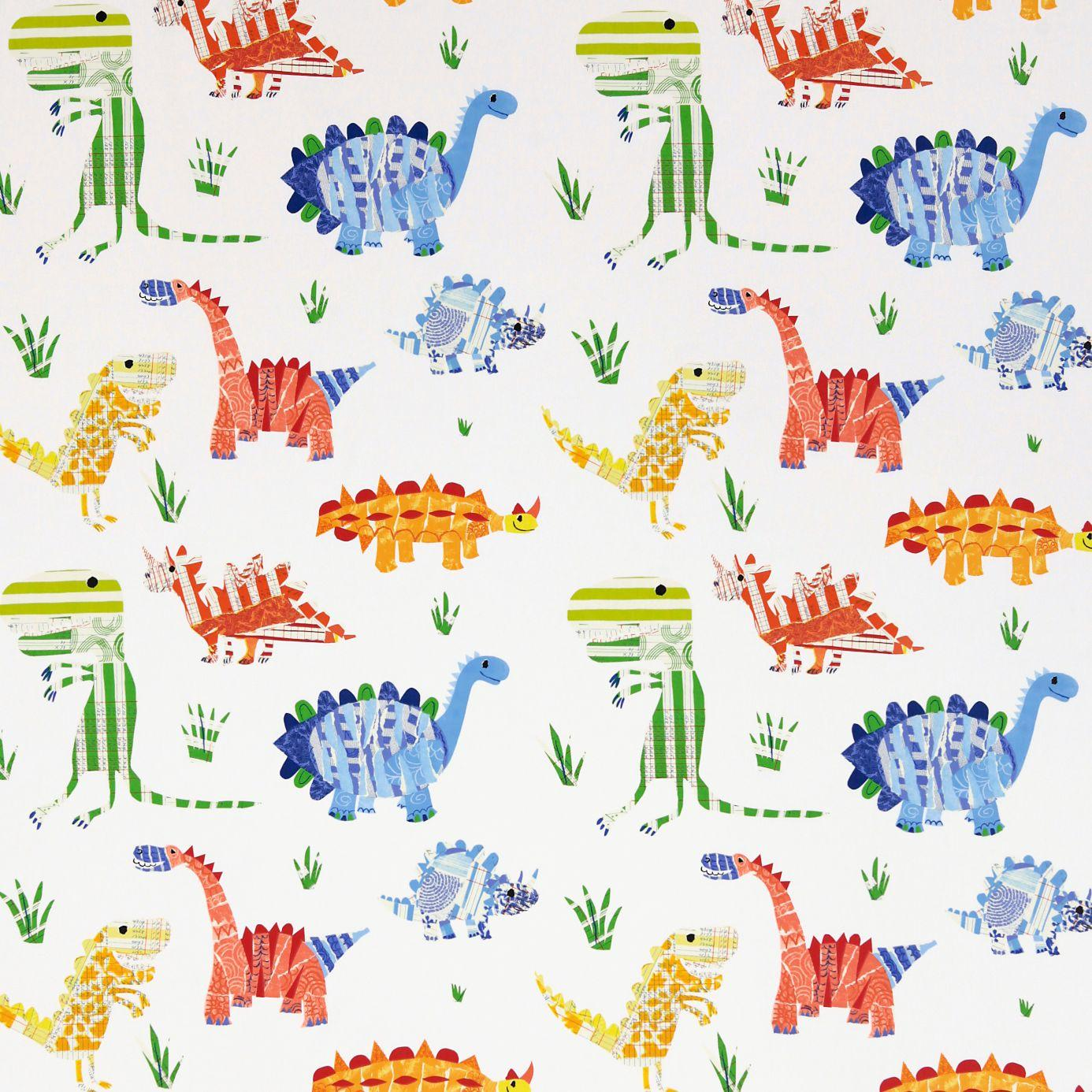 Jolly jurassic fabric aqua tangerine apple natural 3229 for Fabrics for children s rooms