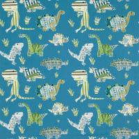 Jolly Jurassic Fabric - Ocean/Khaki/Natural