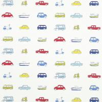 Go Go Retro Fabric - Strawberry/Sky Blue/Lemon/Natural