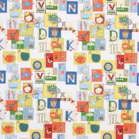 Little Letters Fabric - Tangerine/Emerald/Aqua/Neutrals