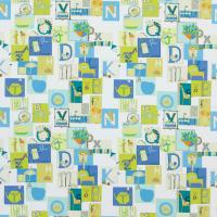 Little Letters Fabric - Emerald/Apple/Ocean/Neutrals