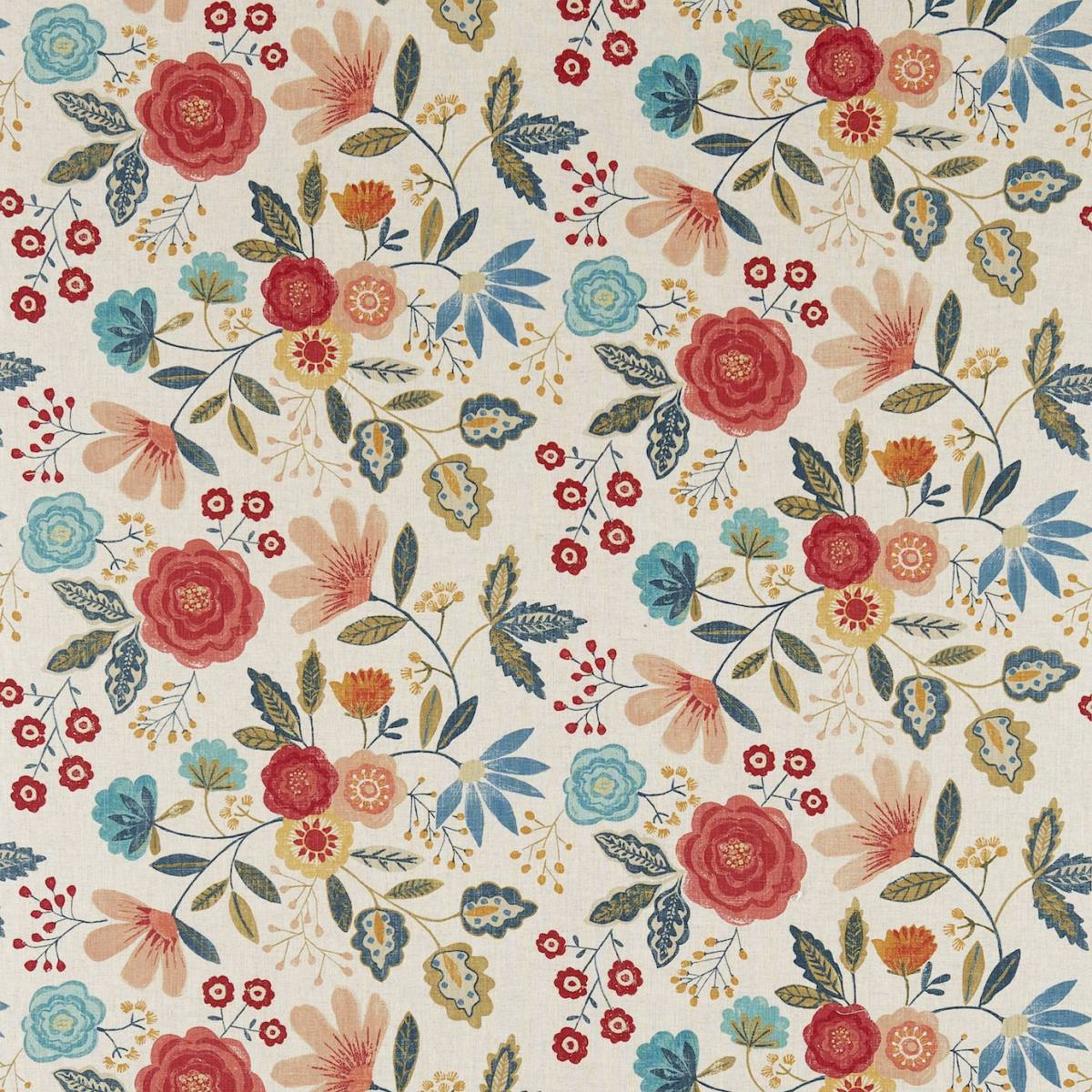 Caspia fabric coral indigo 120265 harlequin jardin for Decoration jardin boheme
