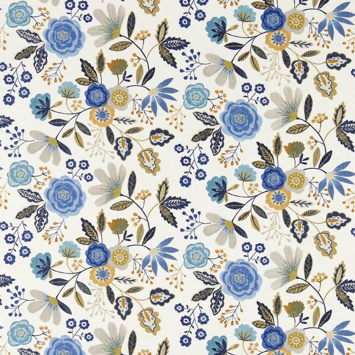 Caspia fabric amber indigo 120267 harlequin jardin for Decoration jardin boheme