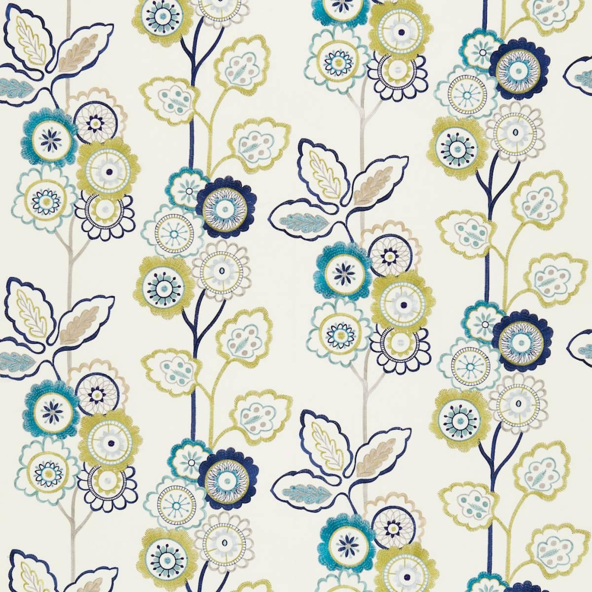 Eden fabric indigo chartreuse 131084 harlequin for Decoration jardin boheme