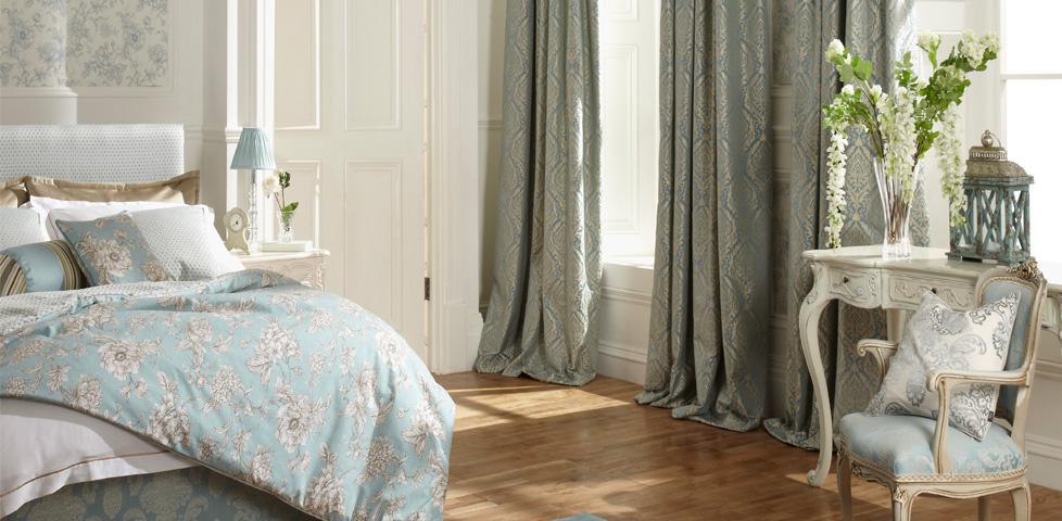 Aquitaine eau de nil fabrics wallpapers homeware from iliv for Eau de nil bedroom ideas