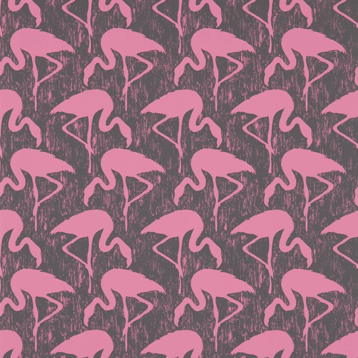 Flamingos Wallpaper Charcoal Pink 214567 Sanderson Vintage