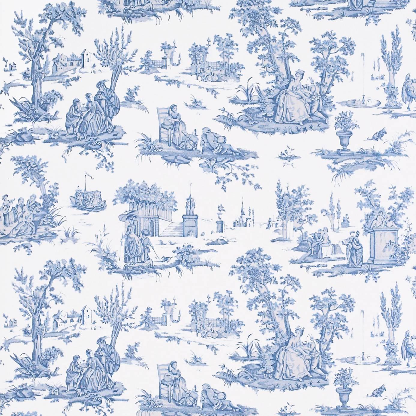 courting toile wallpaper cream blue degtct101