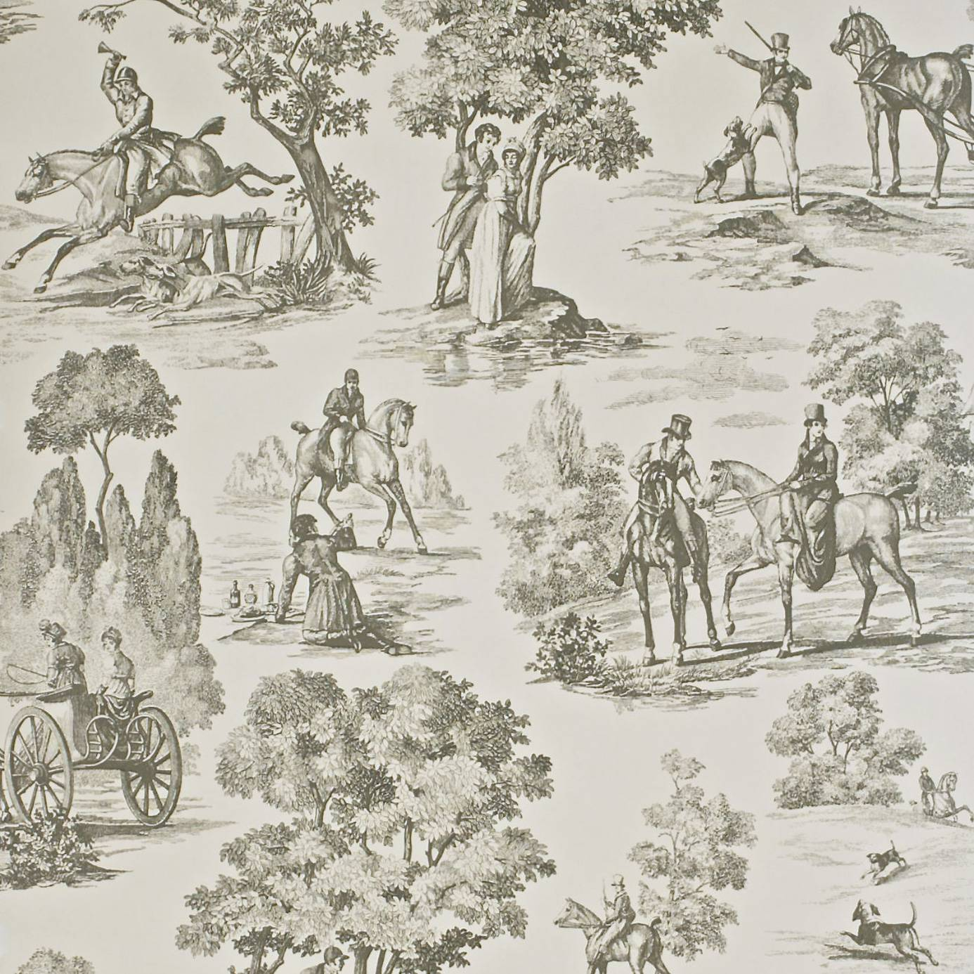 Fox Hunting Wallpaper Sand Olive Degtfh102 Sanderson