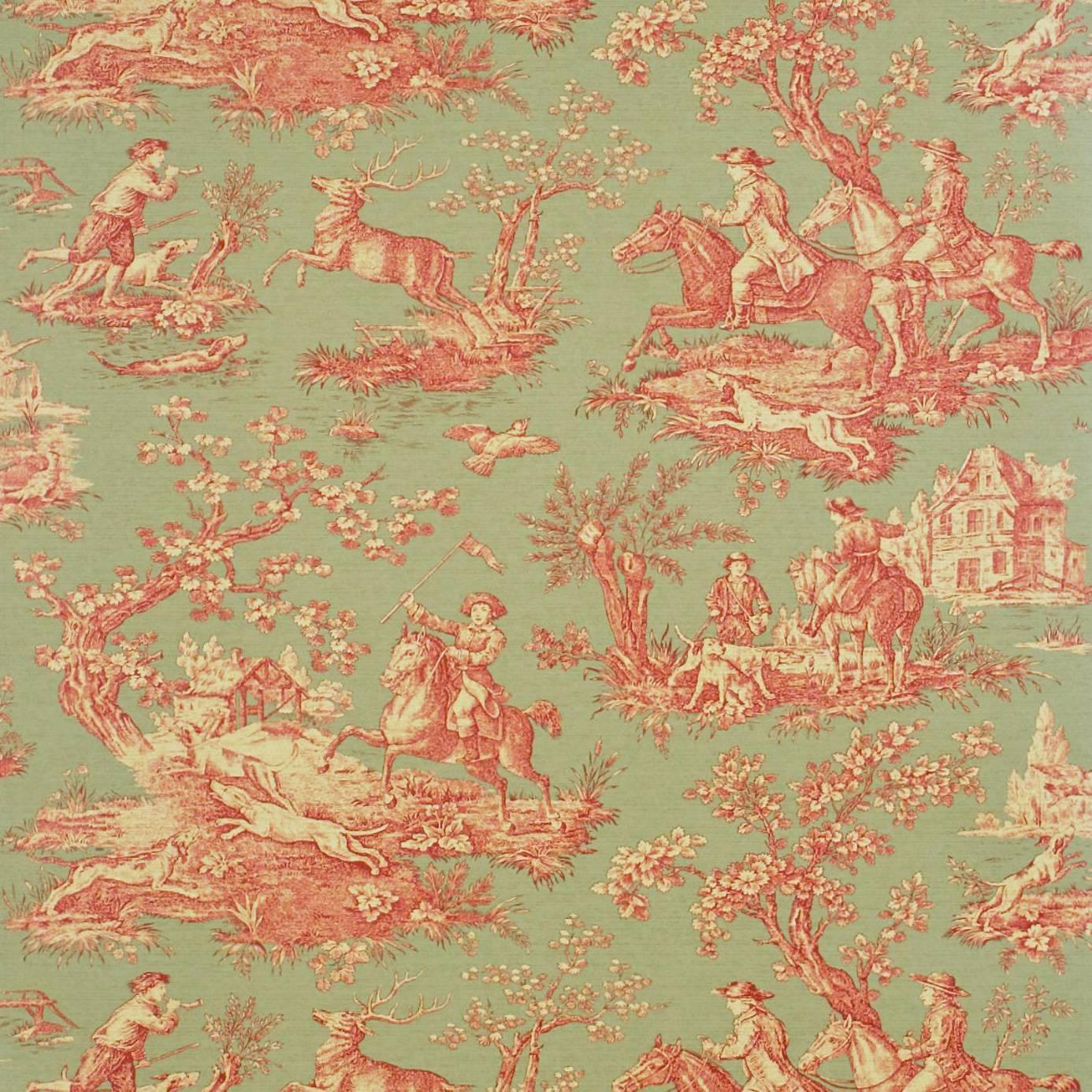 stag hunting wallpaper fern rust ecru degtst103