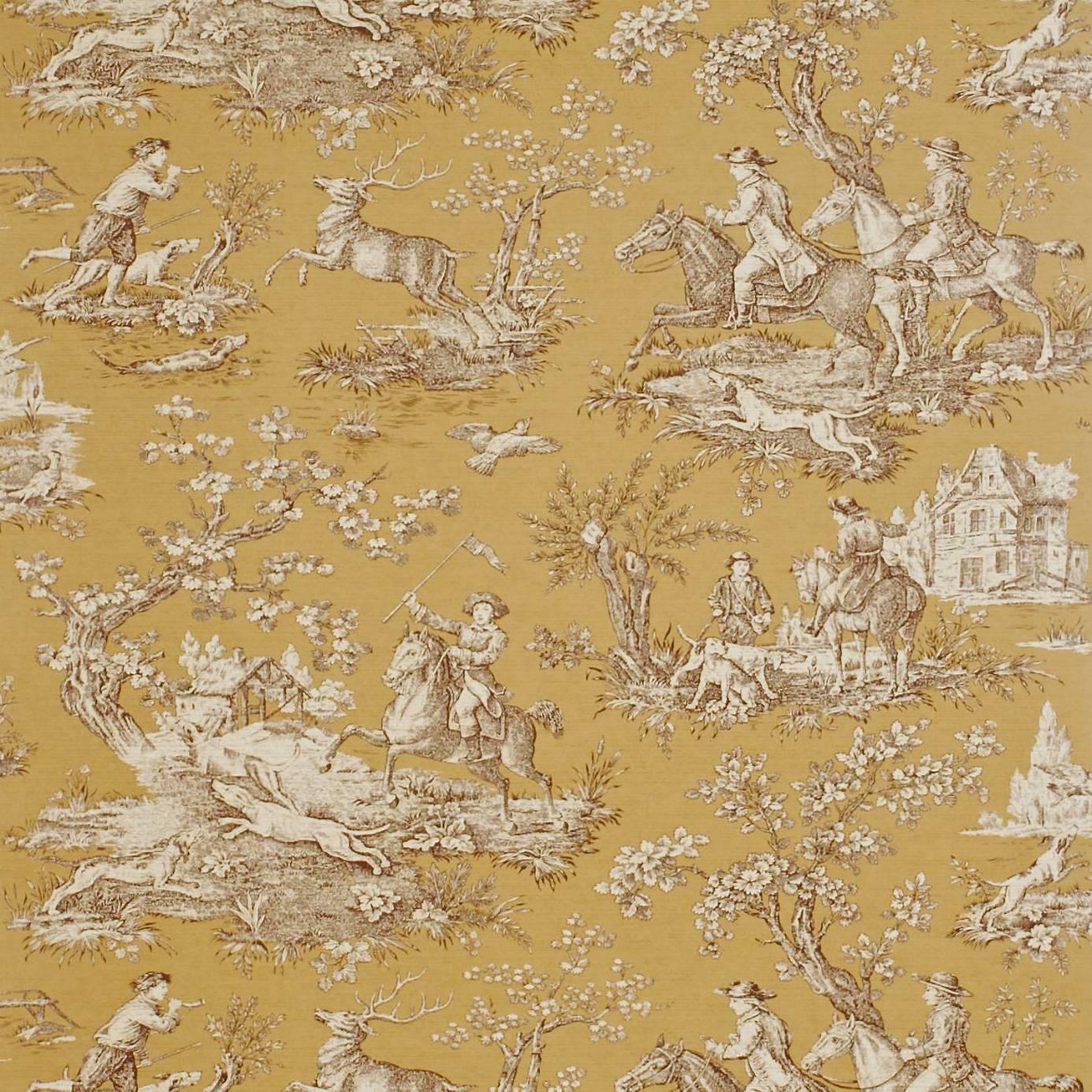Stag Hunting Wallpaper Caramel Charcoal Degtst104