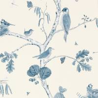 Woodland Chorus Wallpaper - Indigo/Ecru