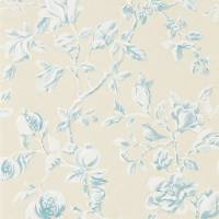 Magnolia & Pomegranate Wallpaper - Parchment/Sky Blue