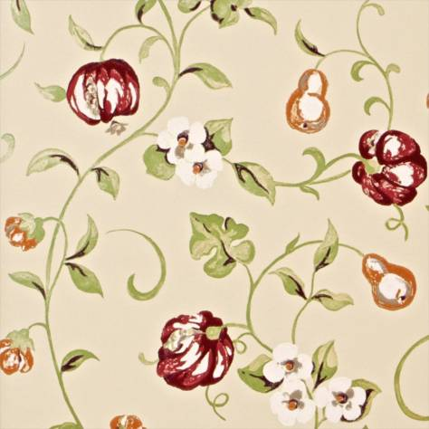 Sanderson A Painter's Garden Wallpapers Pear and Pomegranate Wallpaper - Mandarin/Damson - DAPGPO104