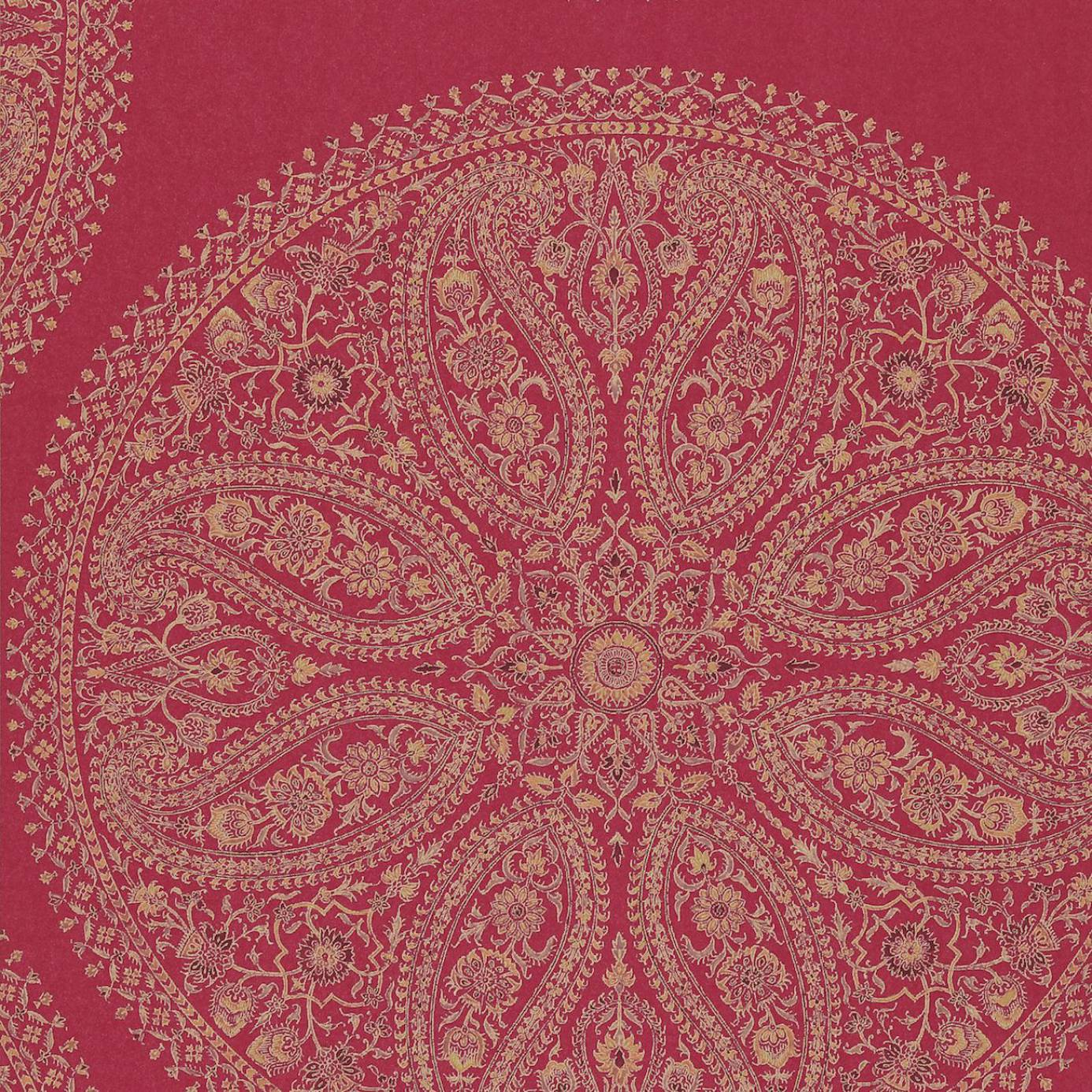 Paisley circles wallpaper red dcavpc105 sanderson for Paisley wallpaper