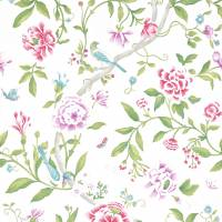 Porcelain Garden Wallpaper - Magenta/Leaf Green