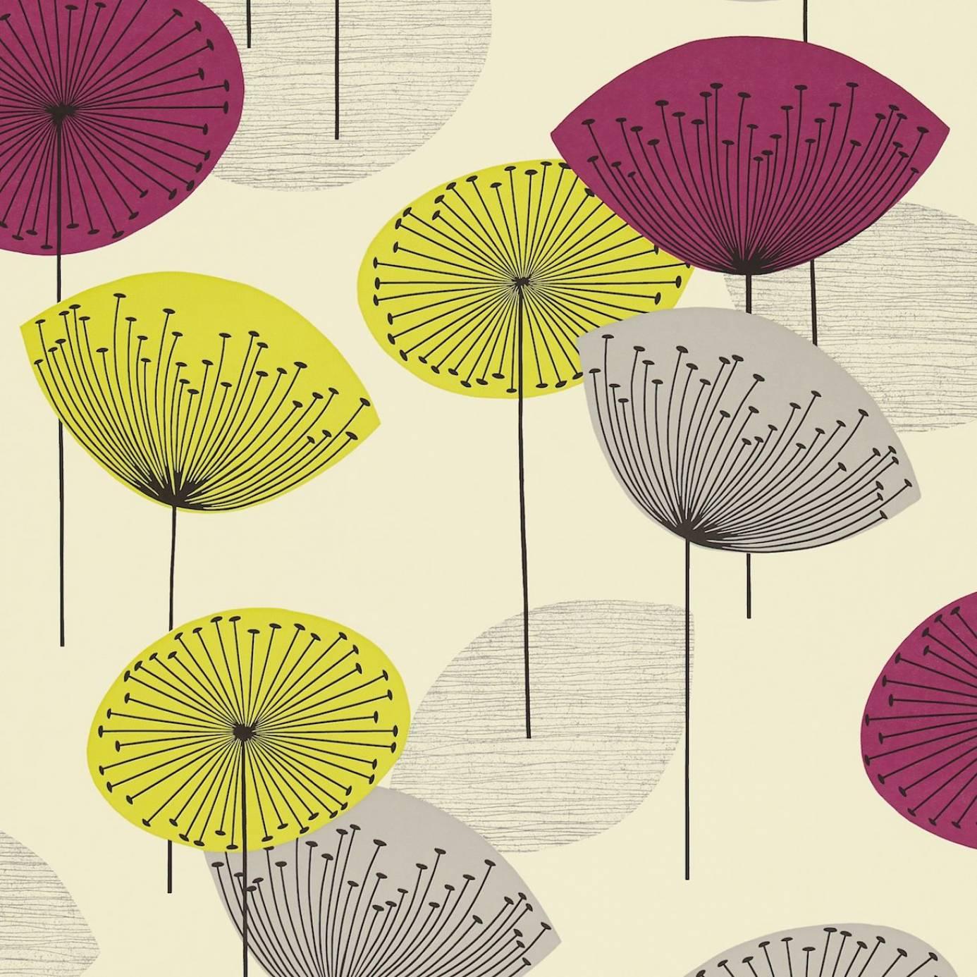 Dandelion Clocks Wallpaper Blackcurrant Dopwda102
