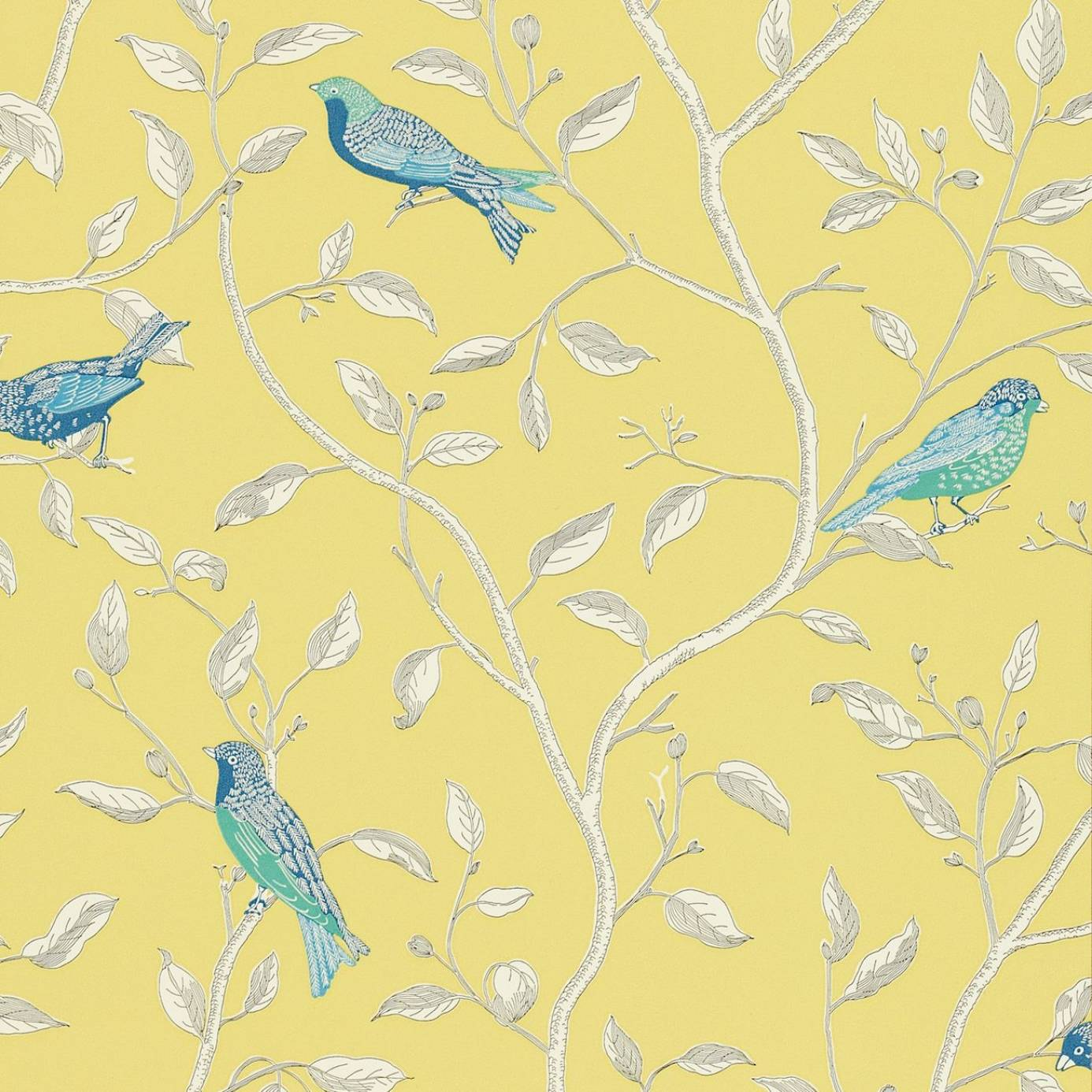 Finches wallpaper yellow dopwfi101 sanderson options for Wallpaper home fabrics