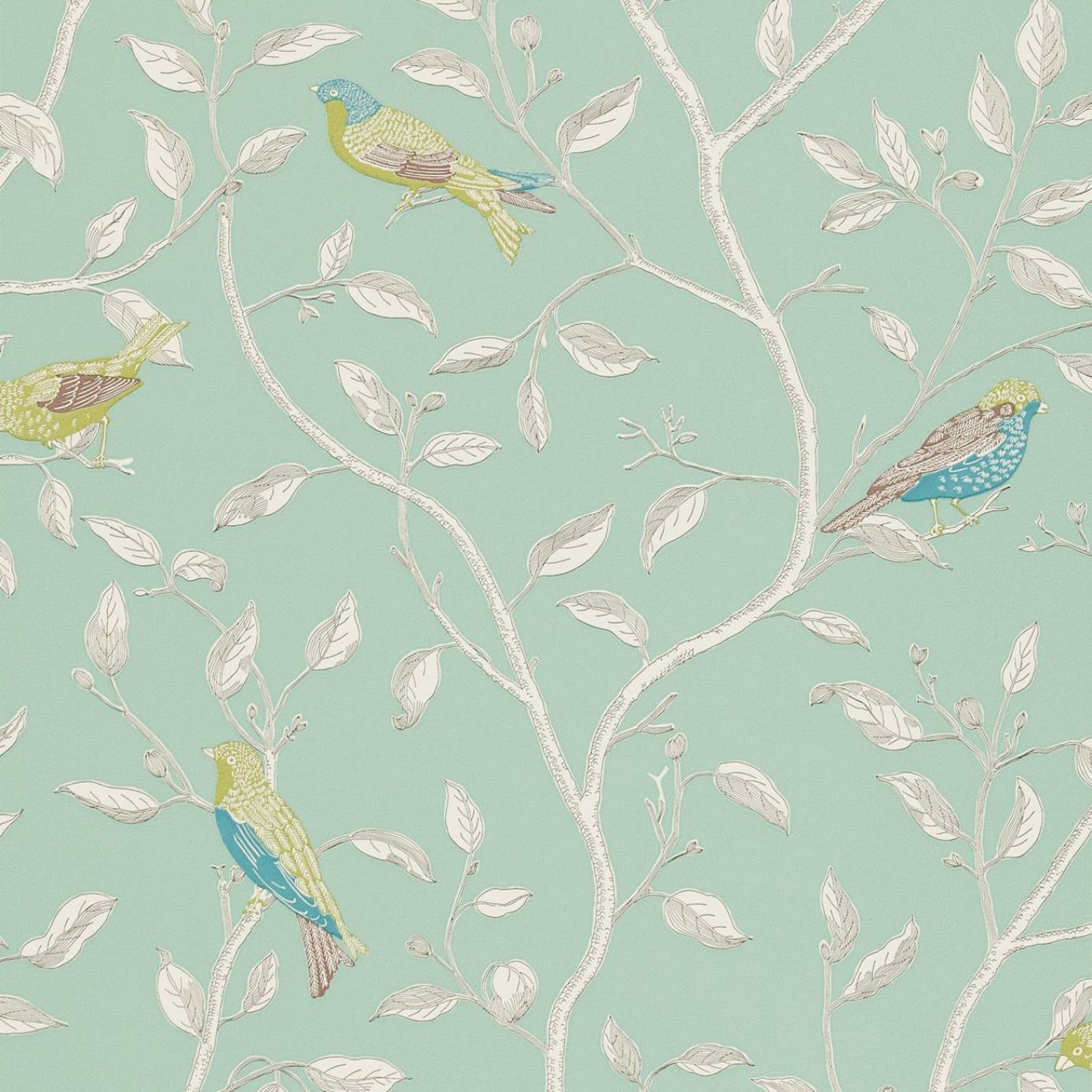 Finches Wallpaper Duckegg Dopwfi103 Sanderson
