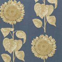Palladio Sunflower Wallpaper - Slate Blue/Gold