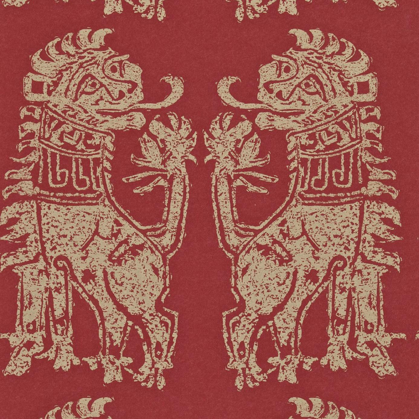 sicilian lions wallpaper red gold dviwsi103. Black Bedroom Furniture Sets. Home Design Ideas