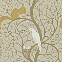 Squirrel and Dove Wallpaper - Linen/Ivory