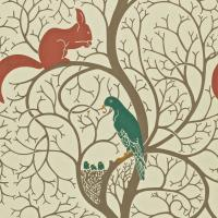 Squirrel and Dove Wallpaper - Teal/Red