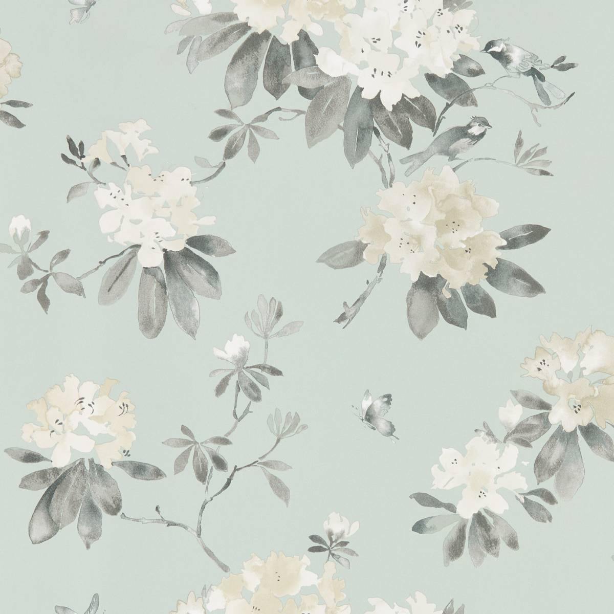 Sanderson Waterperry Wallpapers Rhodera Wallpaper - Aqua - 216263. Loading zoom