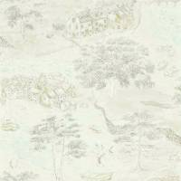 Sea Houses Wallpaper - Chalk/Silver