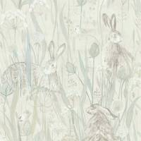Dune Hares Wallpaper - Mist/Pebble