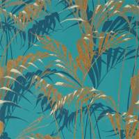 Palm House Wallpaper - Teal / Gold