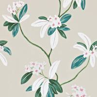 Oleander Wallpaper - Orange/Teal