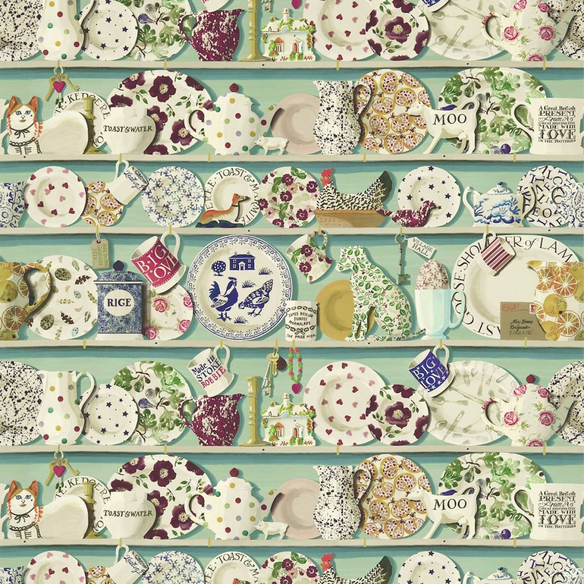 The dresser wallpaper duckegg multi sold by the mtr for Kitchen print wallpaper
