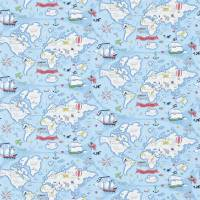 Treasure Map Wallpaper - Sea Blue