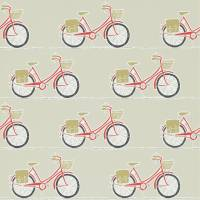 Cykel Wallpaper - Poppy/Charcoal/Biscuit