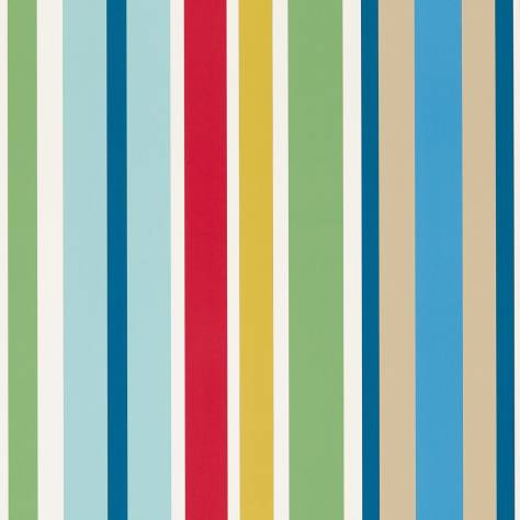 Scion Guess Who? Wallpapers Jelly Tot Stripe Wallpaper - Pimento/Grass/Denim - 111261