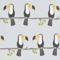 Terry Toucan Wallpaper - Tangerine/Charcoal/Maize