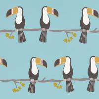 Terry Toucan Wallpaper - Honey/Charcoal/Sky