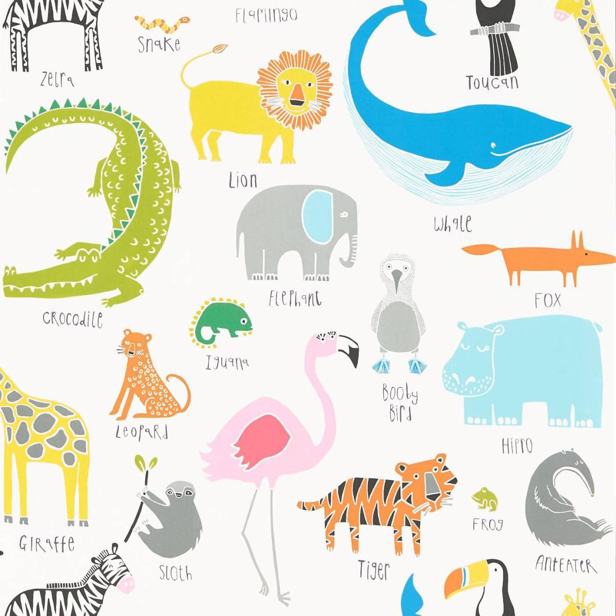 Animal Magic Wallpaper Tutti Frutti Chalk 111287