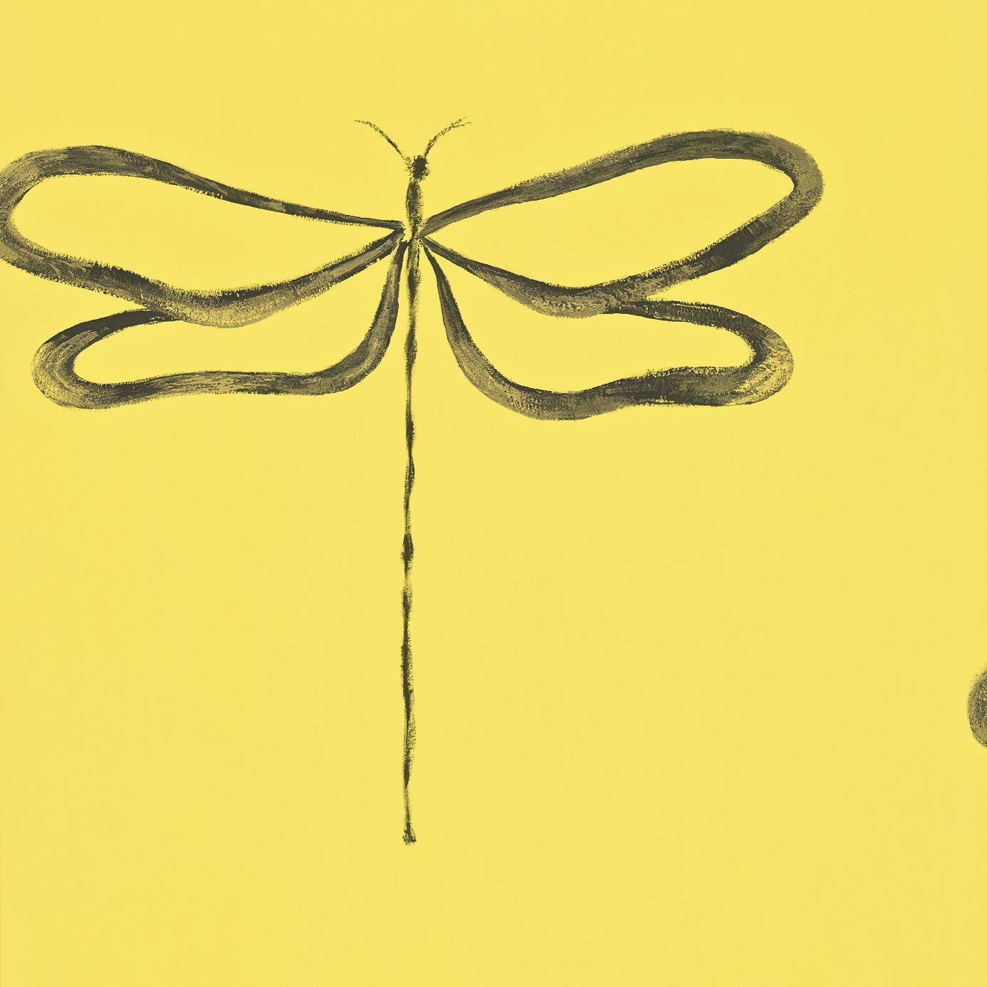 Dragonfly Wallpaper - Sunflower/Charcoal/Gilver (110248 ...