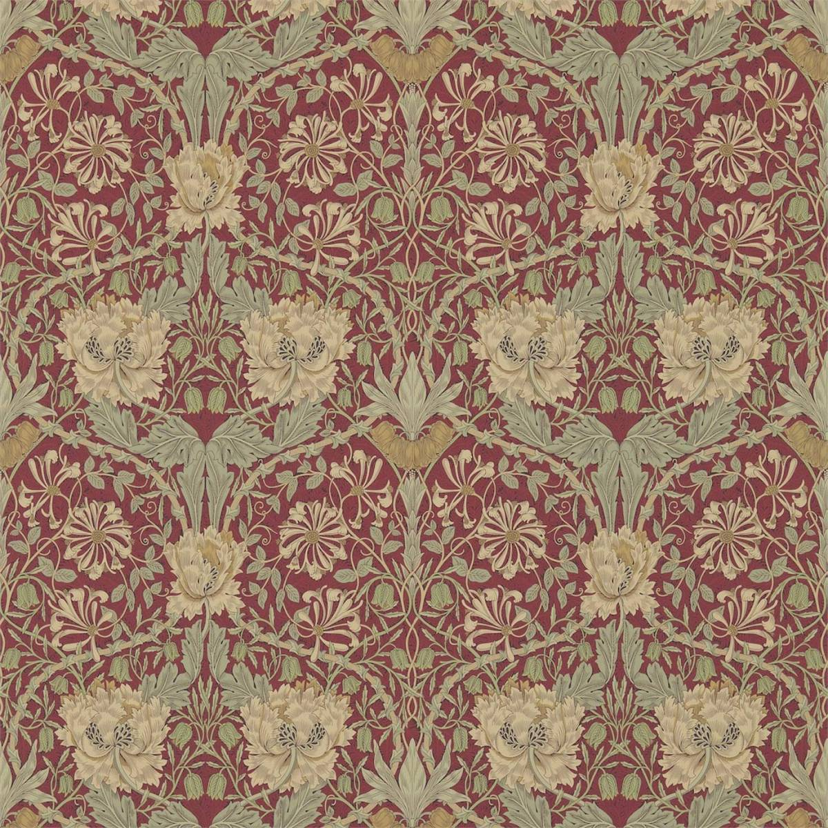 Honeysuckle Amp Tulip Wallpaper Red Gold 214700