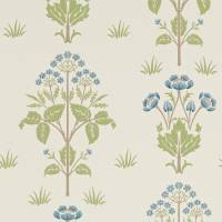 Meadow Sweet Wallpaper - Cornflower/Leaf
