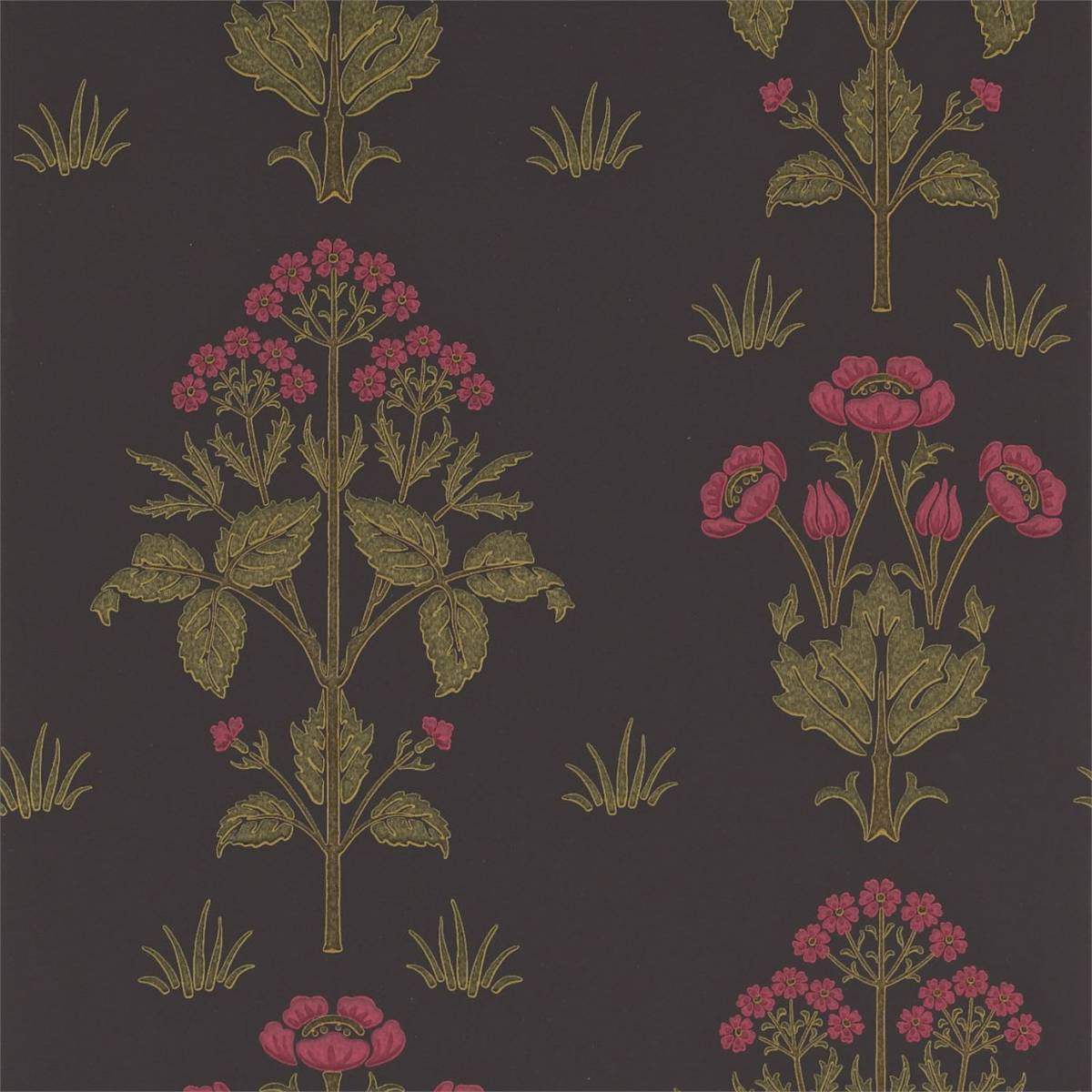 Meadow Sweet Wallpaper - Charcoal/Rose (210352) - William ...