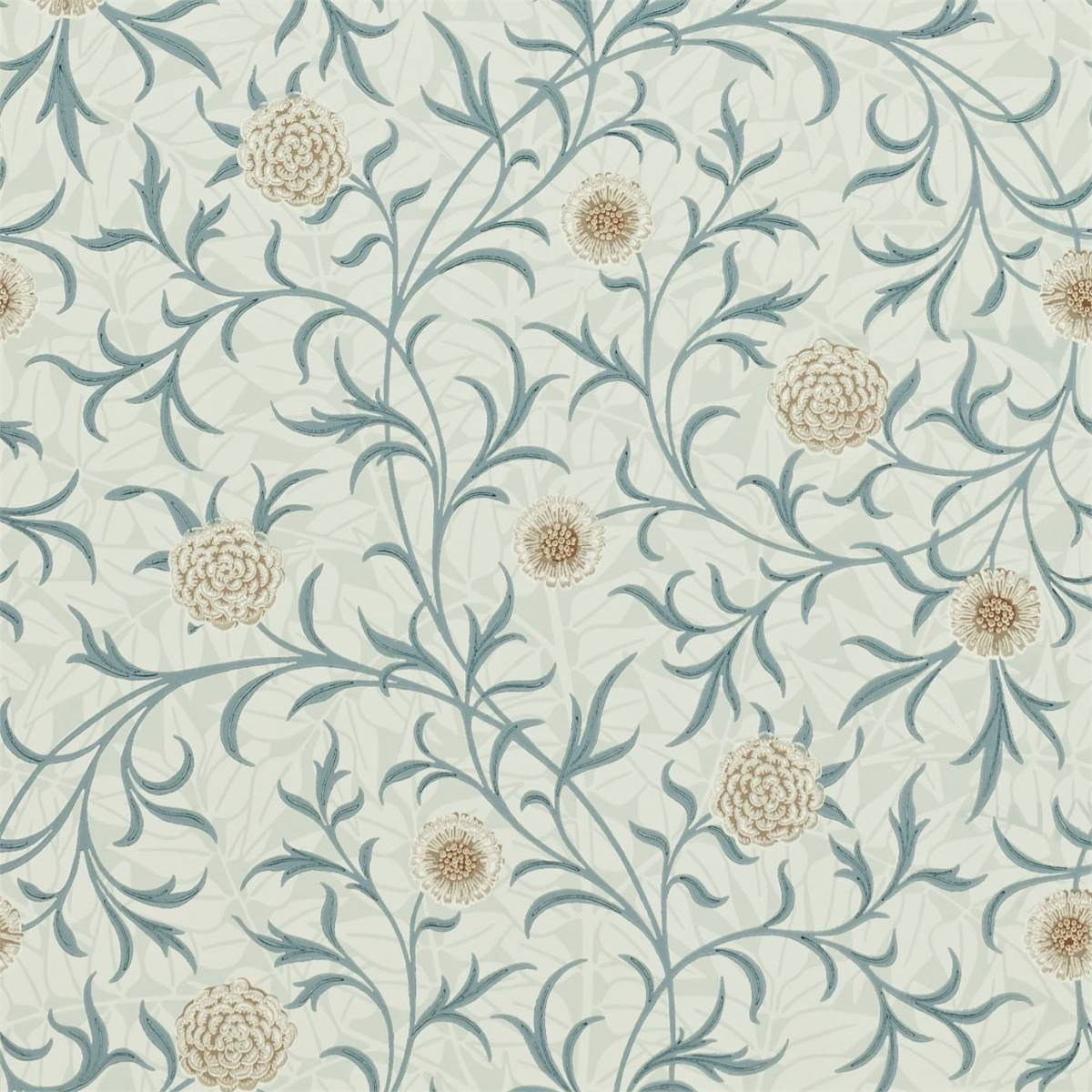 William Morris & Co Archive Wallpapers Scroll Wallpaper - Loden/Slate ...