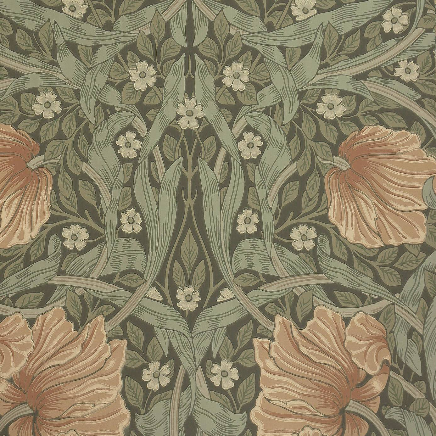 William Morris Wallpaper: Pimpernel Wallpaper Bayleaf/Manilla (210388)