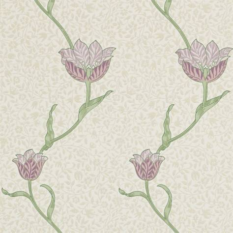 William Morris & Co Archive Wallpapers Garden Tulip Wallpaper - Artichoke/Heather - 210393