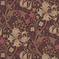 Golden Lily Wallpaper - Fig/Burnt Orange